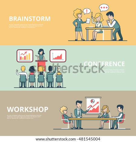 Linear Flat Businesspeople Workshop, analytic Conference, meeting room Brainstorming concepts set of website hero images. Presentation, Business team around table, Working process vector illustration.