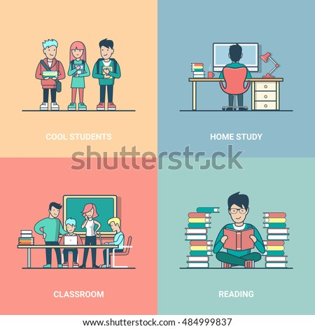 Linear Flat cool students with notebooks, sitting reading tutorial, guy studying at home and classroom vector illustration set. Modern Education and knowledge concept.