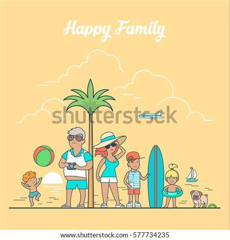 linear flat happy family on sea