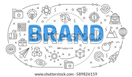Linear flat illustration for presentations white background brand
