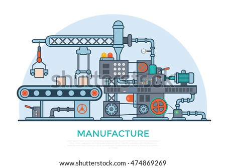Linear Flat industrial manufacture conveyor machine vector illustration. Business product production process concept.