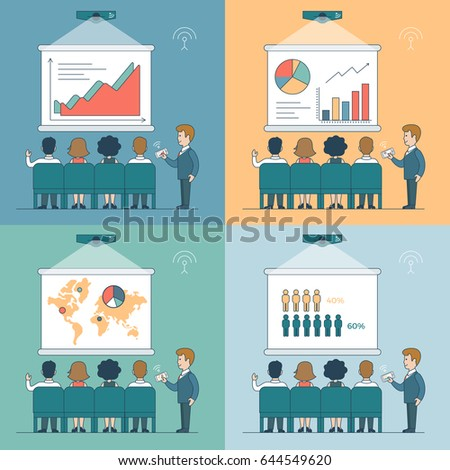Linear Flat office Conference Speaker using projector and phone to show presentation and people listening vector illustration set. Business technologies concept.
