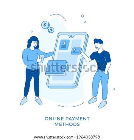 Linear flat Online payment methods concept vector illustration. Male and female cartoon characters paying for purchases using digital money transaction. Mobile shopping. Digital wallet Stockfoto ©