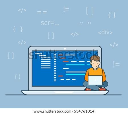 linear flat programmer sitting