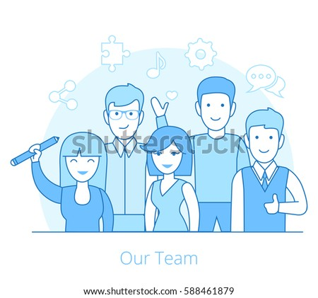 Linear Flat Team of young man and woman vector illustration. Business Teamwork concept