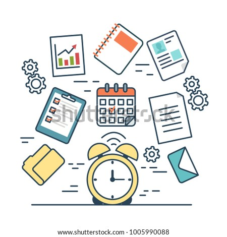 Linear flat TIME MANAGEMENT infographics template and icons website vector illustration. Business concept. Alarm clock, gear, check list, summary, folder, portfolio, document