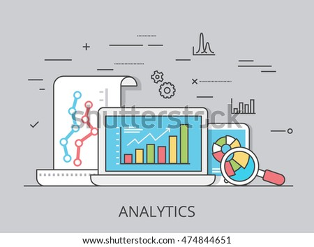 Linear Flat visitor analytics website hero image vector illustration. SEO, SMM and online marketing concept. Laptop, tablet with report data on screen.