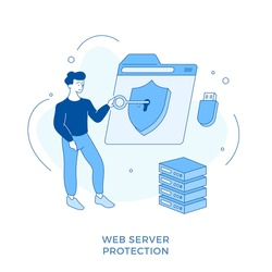 Linear flat Web server protection. Network security. Male cartoon character inserts key into keyhole on shield. Secure web traffic. Data protection