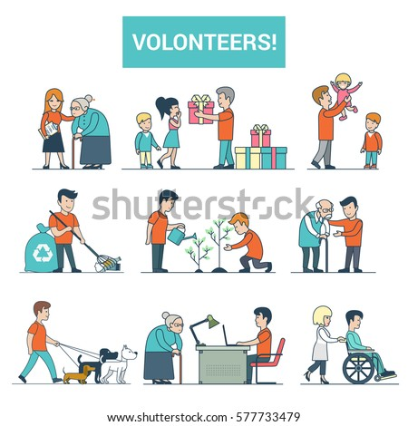 Linear Flat young volunteers helping to disabled people vector illustration set. Dog walking, babysitting, present delivery, assistance images isolated on white background. Volunteering concept.