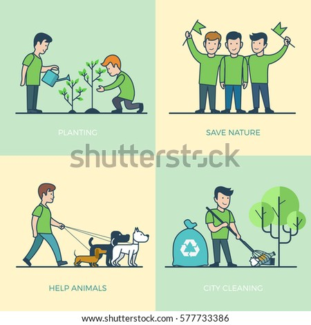 Linear Flat young volunteers walking dog, watering plant, cleaning city vector illustration set. Greenpeace Volunteering concept.