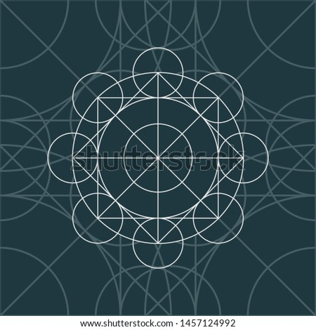 Linear geometry background. Vector linear symbol on the dark background