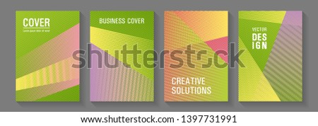 Linear geometry poster vector templates. Laconic corporate style. Marketing brochure covers design set. Minimal presentation backdrops. Trendy stationery folder backgrounds.