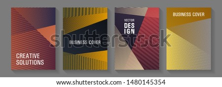 Linear geometry poster vector templates. Stylish magazine vibrant leaflets. Creative leaflet backdrops. Covers set with logo identity spaces. Colorful halftone gradients for web.