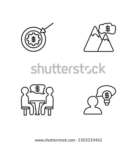 Linear Goal, Conference, Goal, Business Vector Illustration Of 4 outline Icons. Editable Pack Of Goal, Conference, Goal, Business