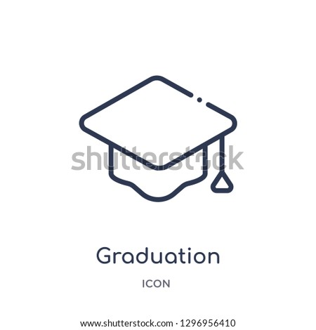 Linear graduation mortarboard icon from Education outline collection. Thin line graduation mortarboard icon isolated on white background. graduation mortarboard trendy illustration