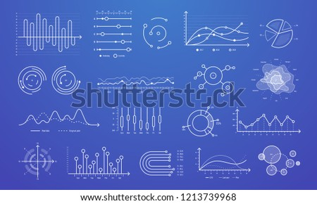 Linear graph chart. Thin line charts, modern statistics graphs and circular bar progress presentation diagram, circular progress statistic comparison bar. Marketing investment isolated vector sign set
