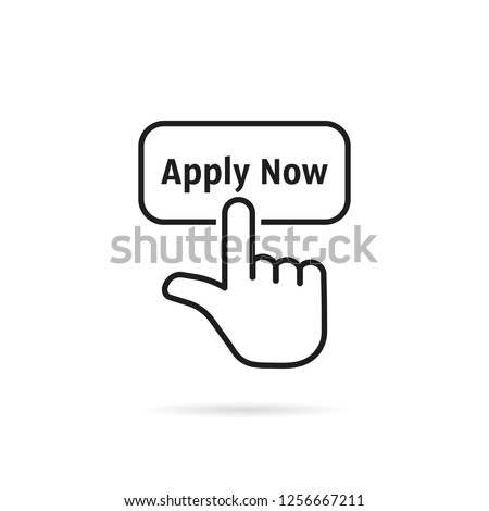 linear hand with black apply now button. flat modern logotype element graphic art design isolated on white background. concept of easy make an application in internet website or exam login here