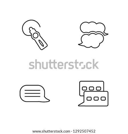 Linear Hands free, Speech bubble, Speech bubble, Chat Vector Illustration Of 4 outline Icons. Editable Pack Of Hands free, Speech bubble, Speech bubble, Chat