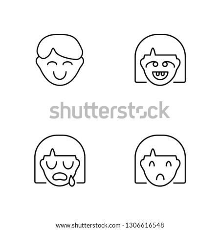 Linear Happy, Crying, Dumb, Sad Vector Illustration Of 4 outline Icons. Editable Pack Of Happy, Crying, Dumb, Sad