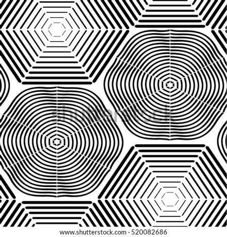 linear hexagons in the pattern