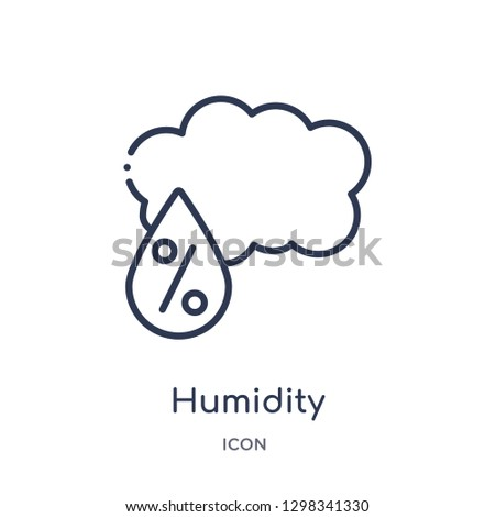Linear humidity icon from Meteorology outline collection. Thin line humidity icon isolated on white background. humidity trendy illustration