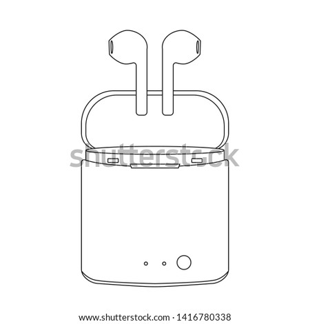 linear icon. air Headphones in case. box holder with white earphones - vector illustration