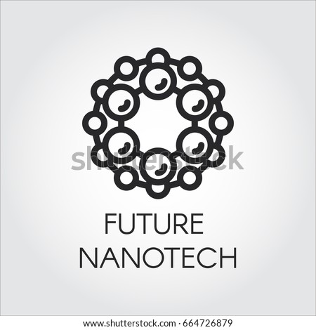 Linear icon of future nanotech concept. Label for future nanotechnology and development design theme. Vector illustration line logo on a gray background