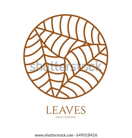 linear icon of landscape with three leaves in circle. Vector logo business emblems. logo for a ecology, health, travel, farming and yoga center. logo round