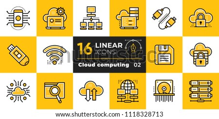 Linear icon set of cloud computing, internet technology, data secure. Suitable for presentation, mobile apps, website, interfaces and print