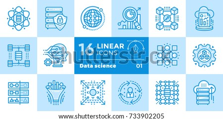 linear icon set of data science