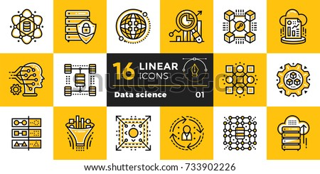 Linear icon set of Data science technology and machine learning process. Material design icon suitable for print, website and presentation