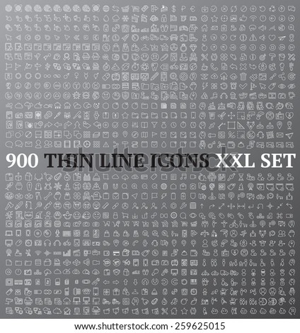 Linear icons exclusive XXL collection ideal for wireframe developing and mockup design Stockfoto ©