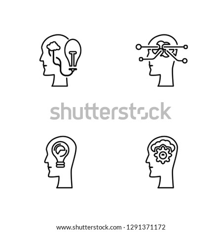 Linear Idea, Idea, Brainstorm, Thinking Vector Illustration Of 4 outline Icons. Editable Pack Of Idea, Idea, Brainstorm, Thinking