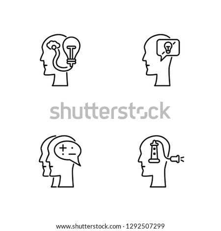 Linear Idea, Idea, Idea, Idea Vector Illustration Of 4 outline Icons.