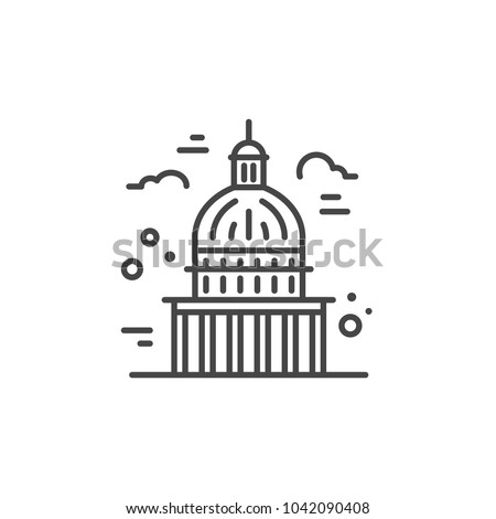 Linear illustration of a capitol. Vector line style icon.