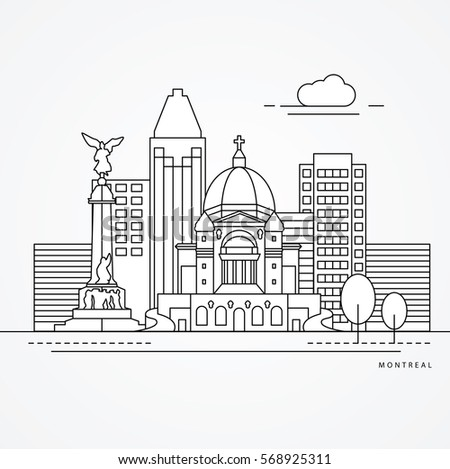 linear illustration of montreal