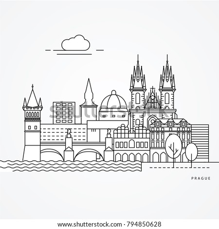 linear illustration of prague