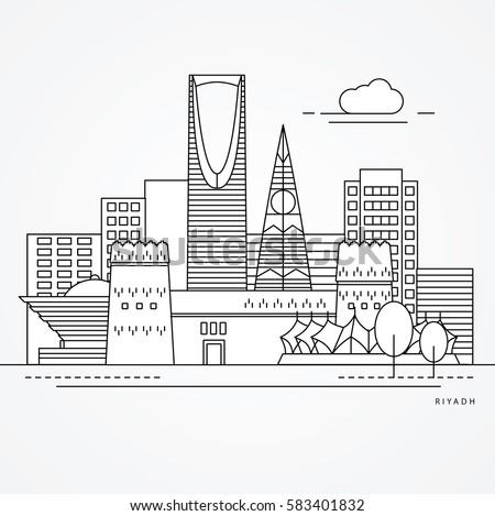 linear illustration of riyadh