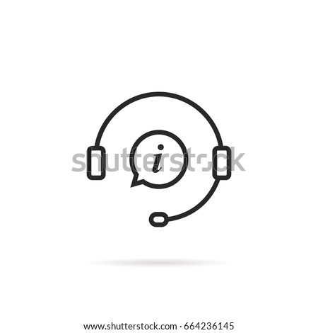 linear information support icon isolated on white background. concept of consultant for ecommerce or elearning. flat contour style trend modern 24/7 hotline or crm logotype graphic art design