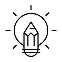 Linear inspiration icon vector illustration. Monochrome pencil in glowing light bulb isolated. Creative symbol of innovation thinking, educational brainstorming, invention imagination or mindset idea