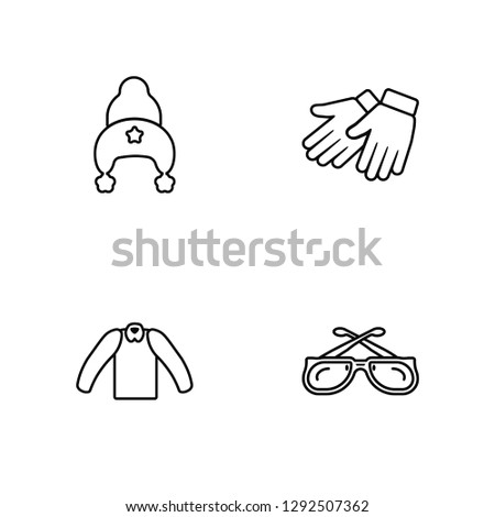 Linear Knit Hat with pom pom, Cotton Cardigan, Leather gloves Vector Illustration Of 4 outline Icons. Editable Pack Of Knit Hat with pom pom, Cotton Cardigan, Leather gloves