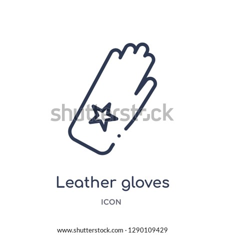 Linear leather gloves icon from Clothes outline collection. Thin line leather gloves vector isolated on white background. leather gloves trendy illustration