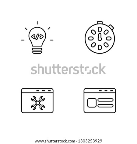 Linear Light bulb, Browser, Stopwatch, Browser Vector Illustration Of 4 outline Icons. Editable Pack Of Light bulb, Browser, Stopwatch, Browser
