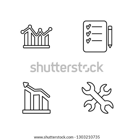 Linear Line graphic, Graphic, List, Wrench Vector Illustration Of 4 outline Icons. Editable Pack Of Line graphic, Graphic, List, Wrench