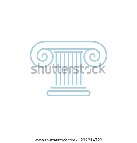 Linear logo, icon, sign of ancient greek ionic column, order.