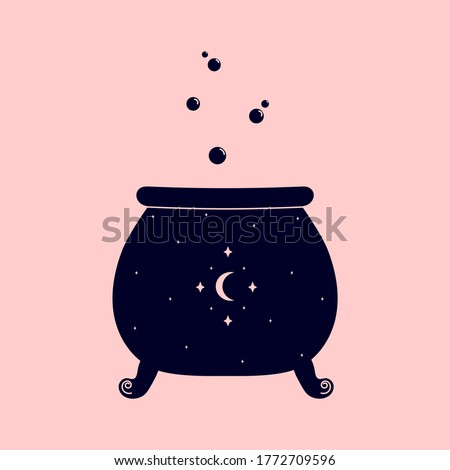 Linear logo or emblem template - witches cauldron with potion. Abstract symbol for packaging. Vector illustration Stock photo ©