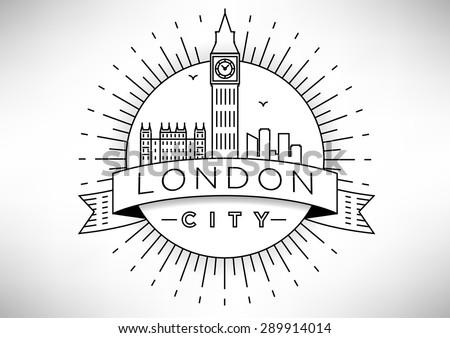 linear london skyline vector