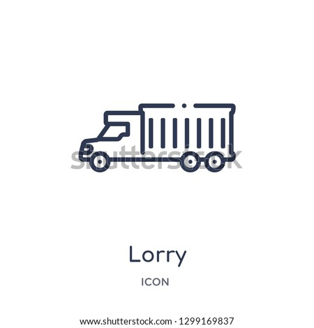 Linear lorry icon from Insurance outline collection. Thin line lorry icon isolated on white background. lorry trendy illustration
