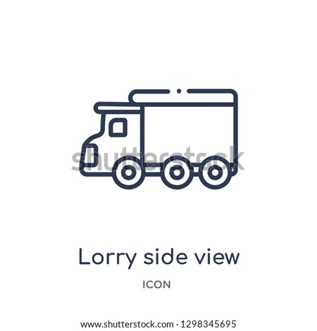 Linear lorry side view icon from Mechanicons outline collection. Thin line lorry side view icon isolated on white background. lorry side view trendy illustration