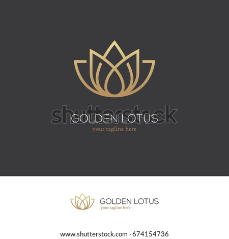 Linear lotus icon. Yoga center, spa, beauty salon luxury logo. Golden flower symbol.